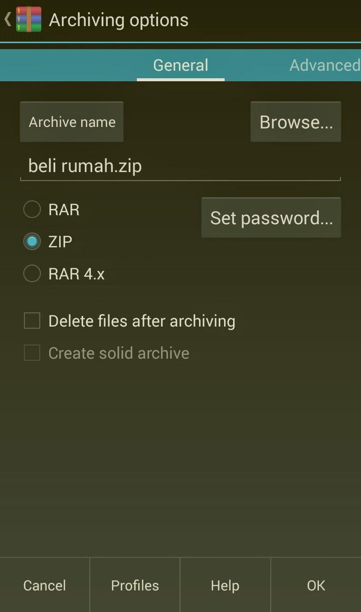 cara membuat file rar zip di android